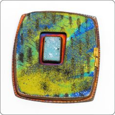 Blue and Green Enamel Brooch with Blue Druzy Quartz Juie Shaw
