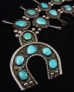 240g Vintage Navajo Sterling Silver Squash Blossom Necklace w Beautiful Blue Gem Turquoise and Wonderful Naja! Fabulous All-Time Clasic!
