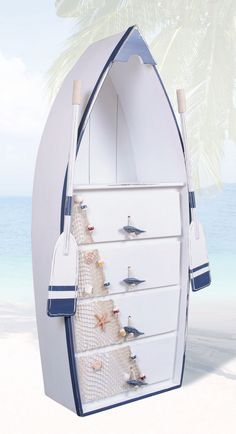 53 Inch Boat Shelf Dresser Nautical Furniture Oars - Looking to transform your home or business? Nautical Decor Store has a wide selection of coastal an - Boot Regal, Wooden Row Boat, Boat Shelf, Nautical Furniture, Nautical Dresser, Boat Furniture, Dresser Furniture, Bedroom Furniture, Furniture Design