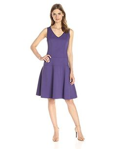 Lark  Ro Womens Sleeveless Fit and Flare Dress Mulberry 8 undefined undefined