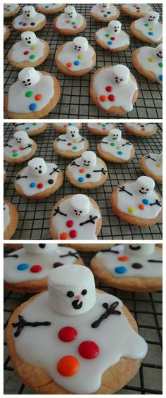 Christmas Food Ideas – Melted Snowman Biscuits – # Biscuits … - Easy Crafts for All Christmas Party Food, Xmas Food, Christmas Sweets, Christmas Cooking, Funny Christmas, Chrismas Food Ideas, Christmas Christmas, Kids Christmas Crafts, Christmas Cakes