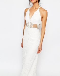 Image 3 of Jarlo Petite Allover Lace Halter Neck Maxi Dress With Lace Waist Insert