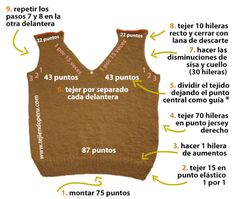 Tutorial: chaleco para niños en dos agujas o palillos - Bebé - Crochet Stitches Patterns, Baby Knitting Patterns, Knitting Stitches, Knit Vest, Baby Cardigan, Knitting For Kids, Crochet For Kids, Crochet Hood, Knit In The Round
