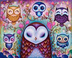 """New painting """"The Great Big Owl"""". I will be debuting prints and other merchandise of the Great Big Owl at Designer Con 2014 in November. There will be plenty of new releases at my booth so stay tuned. Ravensburger Puzzle, Owl Pictures, Beautiful Owl, Wise Owl, Owl Print, Limited Edition Prints, Cross Stitch, Fine Art Prints, Painting"""