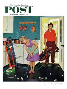 """Putting Around in the Kitchen,"" Saturday Evening Post Cover, September 3, 1960 Giclee Print by Richard Sargent at AllPosters.com"