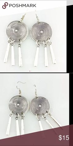 Vintage antique silver circular tassel drops Drop earrings circular with carved circular pattern and tassels,.  Vintage antique gypsy bohemian drop style earrings. sundance boutique Jewelry Earrings