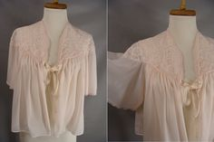 $21.00 Vanity Fair Bed Jacket. vintage Nylon & Lace Bed Jacket. Pale Pink Nylon Bed Jacket. Short Robe. Romantic Top. Bridal Lingerie. size S Small by wardrobetheglobe on Etsy