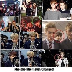 Photobomber level ... Chanyeol. Seriously... he is everywhere...