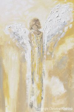 """Angel Painting """"Have a Little Faith"""" - ORIGINAL art, abstract painting, 24x36"""" depicting stunning detailed guardian angel, watching over, with a feeling of providing hope, light, inspiration & comfort. This hand-painted, contemporary, spiritual piece possesses not only a comforting sense of an angel watching over guiding, but w/ its' gentle shades of white, pale gold a&soothing grey it also contains a vintage, stylish feel. Home decor, farmhouse wall art by Artist, Chr"""