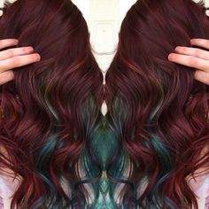 Burgundy hair color with teal peek-a-boos                                                                                                                                                                                 More