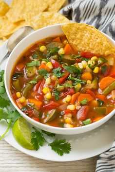 Mexican Vegetable Soup - I would add a can of black beans for protein.