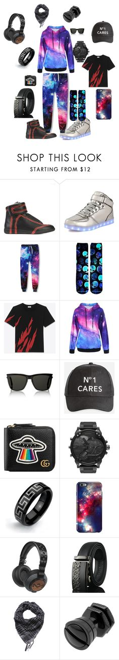 """""""My brothers out there outfit"""" by i-love-cake3 ❤ liked on Polyvore featuring Maison Margiela, WithChic, Yves Saint Laurent, Ashley Stewart, Gucci, Diesel, Bling Jewelry, Speck, The House of Marley and men's fashion"""