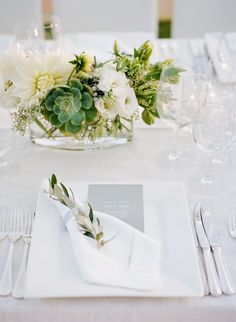 White+Green Wedding Flowers, Succulents and Olive Branches
