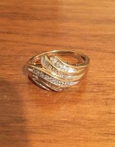 Womens 10 KT Gold Round and Baguette Cut Diamond Cocktail Ring SZ7FREE to SHIP | eBay