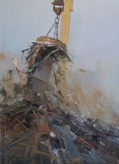 Finding beauty in the rough and mundane industrial world of scrap heaps, Michael Kareken's textural paintings and charcoals are worth checking out. Landscape Artwork, Contemporary Landscape, Contemporary Paintings, Abstract Landscape, Landscape Photos, Abstract Art, Industrial, New Artists, Painting Inspiration