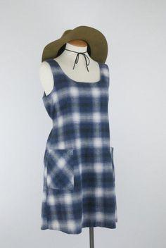 Vintage 90s Blue Plaid Flannel Dress // by TingleVintage on Etsy