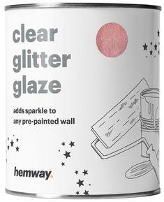 Hemway 1L Clear Glitter Paint Glaze for Pre-Painted Walls (Rose Gold Glitter) - Acrylic, Latex, Emulsion, Ceiling, Wood, Varnish, Dead flat, Matte, Soft Sheen or Silk (CHOICE OF 25 GLITTER COLOURS) #GlitterWalls #GlitterPaint