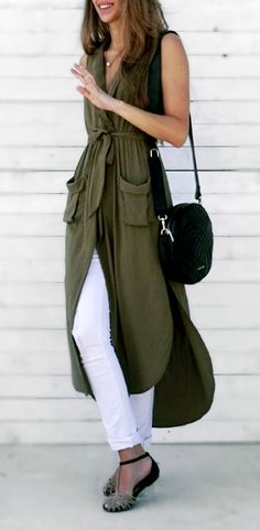 This chic dress is for the urban girl who likes to make a statement without going OTT. Features centre front buttons, deep pockets on the hip and a deep v-neck, Vest Outfits, Cool Outfits, Fashion Outfits, Weekend Style, Weekend Wear, Army Green Vest, Military Green, Spring Summer Fashion, Autumn Winter Fashion