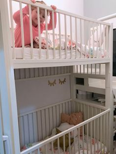 New baby cribs ikea bunk bed 25 ideas Bunk Bed Crib, Baby Bunk Beds, Bunk Beds Small Room, Toddler Bunk Beds, Girls Bunk Beds, Bed For Girls Room, Bunk Beds With Stairs, Cool Bunk Beds, Kid Beds