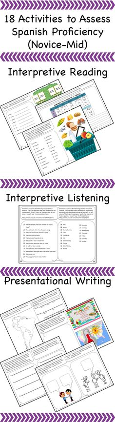 Spanish proficiency assessment activities - aligns with ACTFL standards