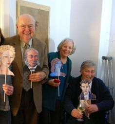 """William (Bill) C. Carter, Lynn Carter and David Richardson, with their favorite characters from David's book, """"Resemblance."""" November 2013"""