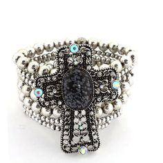 "Fashion Stretch Bracelet; 1.5""W with 2.75""H Cross; Burnished Silver Metal; Black Center Stone; AB Rhinestones; Eileen's Collection. $24.99"