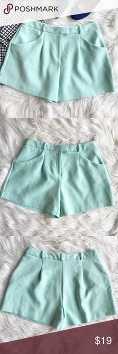 """NWT Limited Edition for M&S High Waisted shorts These adorable spearmint colored high waisted shorts are perfect for adding a punch of color to your outfit this spring. This are from Limited Edition and are an M&S (Marks and Spencer exclusive). These are a U.K. Size 10 which is a US 8, but please refer to measurements for fit. Waist - 15"""", inseam - just under 4"""", rise - 11.5"""". Limited Edition Shorts"""