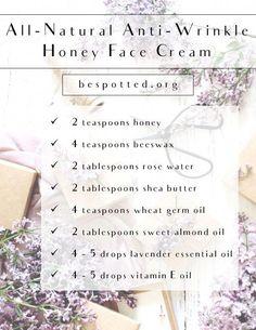 #DIY #anti-wrinkle #honey #facecream bespotted.org #AntiAgingEyeCream Diy Beauty Makeup, Beauty Tips, Face Makeup, Beauty Hacks, Face Cream For Wrinkles, Face Creams, Honey Face Mask, Anti Aging Eye Cream, Moisturizer With Spf