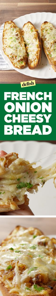 This french onion cheesy bread is even better than garlic bread. Get the recipe on Delish.com.