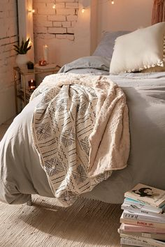 Cozy Nomad Mudcloth Faux Fur Throw Blanket | Urban Outfitters