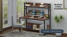 This computer desk offers wider space to fit your laptop, PC, keyboard and other accessories. It also provides a plenty of space for gaming setup, paperwork and other office activities. Computer Desk Design, Computer Desks For Home, Computer Desk With Hutch, Bookshelf Desk, Home Desk, Desk Hutch, Home Office Setup, Home Office Design, Office Workspace