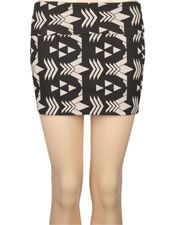 Geometric Print Bodycon Skirt - Black