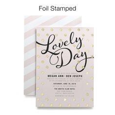Customizable foil stamped invitations - 250 for $497 @Lena Lionetti