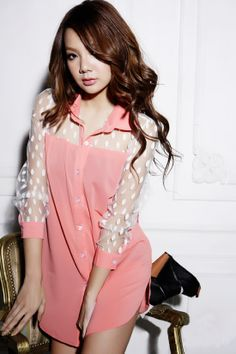 Long #Mesh Sleeve #Pink #Tunic Blouse YRB0055