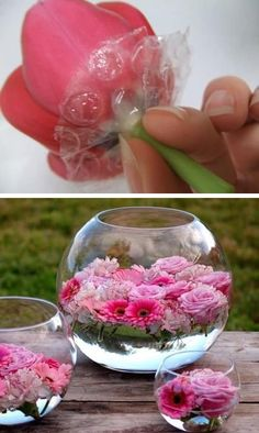 DIY Flower Arrangements Use bubble wrap for floating flowers. -- 13 Clever Flower Arrangement Tips & Tricks. Ideas for arranging flowers for Valentines day Wedding Easter or bridal shower. Easy and cheap way to make stunning flower arrangements yourself. Summer Table Decorations, Diy Party Decorations, Bridal Shower Decorations, Decoration Table, Wedding Centerpieces, Wedding Table, Wedding Reception, Table Centerpieces, Centerpiece Ideas
