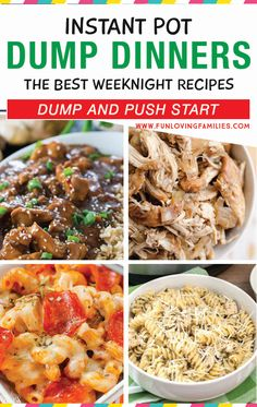 Add these dump recipes to your Instant Pot meal planning this week. They are super easy and so delicious. Something for all tastes on this huge list of easy dinner recipes. Instant Recipes, Instant Pot Dinner Recipes, Easy Dinner Recipes, Best Instant Pot Recipe, Crockpot Dump Recipes, Cooking Recipes, Instant Pot Pressure Cooker, Pressure Cooker Recipes, Pots