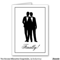 Shop Two Grooms Silhouettes Congratulations Note Cards created by beckynimoy. Thank You Note Cards, Custom Thank You Cards, Custom Greeting Cards, Homemade Wedding Cards, Lesbian Wedding, Personalized Note Cards, Italy Wedding, Gay
