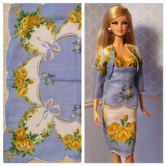 Strapless empire waist Barbie doll dress and jacket made from vintage hankie