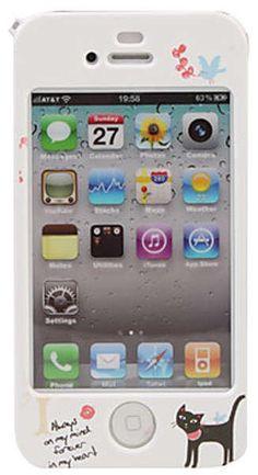 Ochranný kreslený predný kryt pre iPhone 4 / 4S (čierna mačka, modrá mašľa)