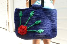 Crochet Hand Bag  Dark Blue by AngieMade on Etsy, $48.50