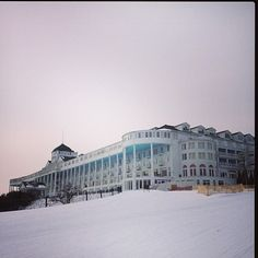 Photo shared on Instagram by @mackinacmommy of Grand Hotel from a snowmobile ride.