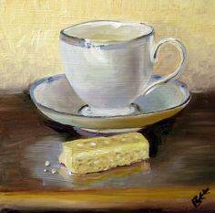 Original still life oil painting Cup of Tea and a Scottish Shortbread Cookie. $66.00, via Etsy.