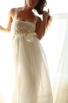 love the messy yet elegant feel this has. Ballerina- Babydoll Wedding Gown In Chiffon with Lace and Pearl Applique