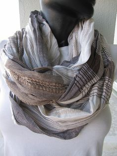 Brown beige plaid infinity scarf crinkled Scarf by BellaTurka, $17.00