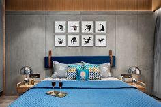 Inspiring contemporary apartment located in Surat, India, designed in 2019 by aplus DESIGN. Bedroom Wall Designs, Bedroom Bed Design, Bedroom Layouts, Living Room Designs, Living Room Decor, Bedroom Decor, Kids Bedroom, Bedroom Ideas, Master Bedroom