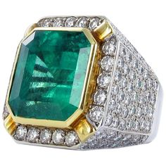 For Sale on - Spectacular emerald and diamond ring. Set with an octagonal step-cut Colombian emerald with a weight of approximately carats. Bold mounting in 18 Platinum Diamond Rings, Emerald Diamond, Emerald Jewelry, Diamond Jewelry, Luxury Jewelry, Unique Jewelry, Man Jewelry, Jewelry Rings, Colombian Emeralds