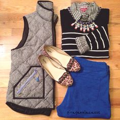 Ootd, fall layers, herringbone vest, plaid, stripe sweater, leopard loafers