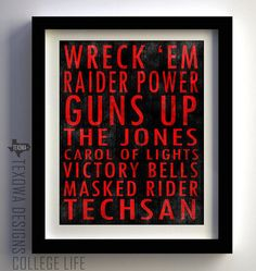 Texas Tech print. I think that a faint image of a Double T or the Masked Rider in the background would make this look better.
