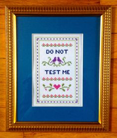 Funny counted cross stitch pattern: Do not test me PDF instant download