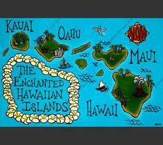 """The Enchanted Hawaiian Isles"" - H.Brown Does island hopping sound like a fun adventure? Heather Brown has created this intriguing map of the Enchanted Hawaiian Isles as your guide. Matted print by No"
